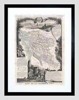 MAP ILLUSTRATED ANTIQUE CHARENTE BLACK FRAMED ART PRINT B12X4920