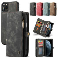 For iPhone 11 Pro XS Max XR 8 7 6S Leather Removable Wallet Magnetic Case Cover