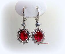 Orecchini donna pendenti argento 925 zirconi centro rosso color rubino contorno