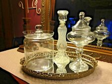 VINTAGE MIRRORED VANITY TRAY WITH THREE GLASS CONTAINERS FOR JEWELRY....UNIQUE S