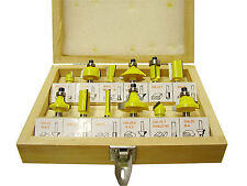 """12 Piece TCT Tipped Router Bit Set with 1/4"""" inch shank"""