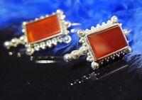 """Vintage Carnelian 1 1/4"""" Dangling 0.925 Sterling Silver Pierced Earrings"""