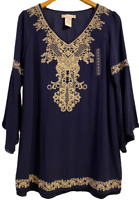 NEW Flying Tomato Womens Embroidered Boho Tunic Shirt Top Small Anthropologie