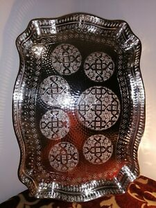Moroccan royal tray for teapot tea set handmade silver authentic serveware Fez