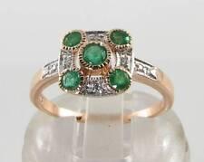 Dainty 9K 9CT ROSE ORO Colombiano Smeraldo Diamante Art Deco INS Anello Free Size