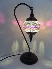 Turkish Lamp Swan Hand Made Moroccan Table Mosaic Colourful Glass Purple Diamond