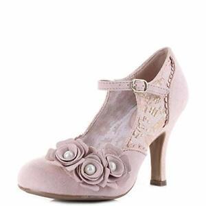 Ruby Shoo Antonia Ladies Mary Jane Heeled Shoes Rose Gold