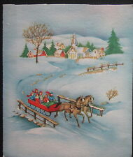 Vintage Christmas Greeting Card Horse Drawn Sled Over a Winter Bridge Glitter