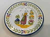 "VTG Sur La Table Handpainted Portugal Dinner Plate, Woman with Flower, 10"" Dia"