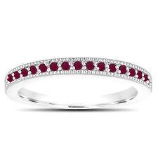 Red Ruby Wedding Band 14K White Gold Half Eternity Anniversary Ring Handmade