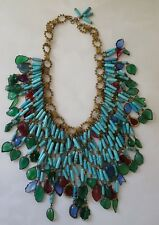 VINTAGE FRENCH CHANEL MAISON GRIPOIX Poured Glass Bib Jewelry NECKLACE!