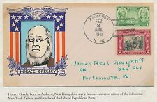 """#651 & #785 """"HORACE GREELEY"""" ON WEIGAND PATRIOTIC CACHET HANDPAINTED BS2963"""