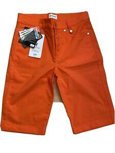 NWT Golfino Ladies Light Techno Stretch Bermuda 1368624 330 Orange Sz 4 8 NEW