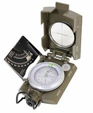 Deluxe Olive Drab Military Folding Marching Compass w/ Scales, Level, Magnifier