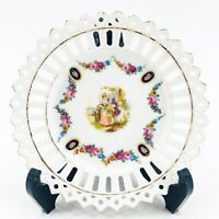 Vintage Pierced Reticulated Scalloped Edge Victorian Floral Plate Signed Germany