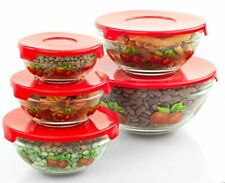 5 Piece Heat Resistant Glass Set with Lids food keeper cooking bowl