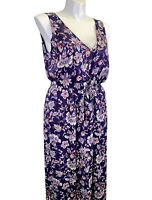 Lucky Brand V Neck Maxi Dress XL Extra Large Blue Floral Cinch Waist EUC