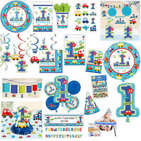 All Aboard Blue Boy's 1st Birthday Party Supplies Tableware Banner Listing