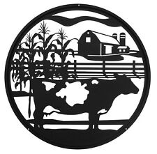 Swen Products Farm Dairy Cow Steel Scenic Art Wall Design