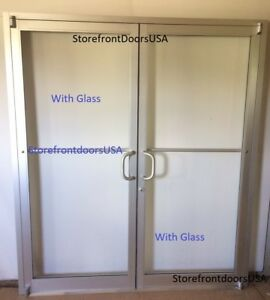 COMMERCIAL STOREFRONT DOUBLE DOOR, FRAME & CLOSER 6'0 x7'0, CLEAR FINISH w/Glass