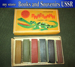 Children's plasticine, clay for modeling of the USSR 6 colors 1970's