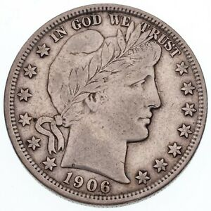 1906-D 50C Barber Half Dollar in VF Condition, Natural Color, Bold LIBERTY
