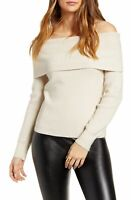 Leith Womens Sweater Oatmeal Beige Size XL Off-Shoulder Ribbed Pullover $59 122