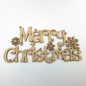 Merry Christmas sign Plaque Gift wooden craft shape decoration blanks tags Santa