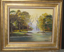 STUNNING MID CENTURY OIL PAINTED TITLED PEACE BY M R JOINER FLORIDA ARTIST