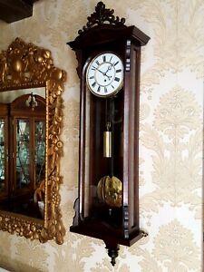 Antique Austrian 1 weight Vienna regulator wall Clock. Biedermeier style case