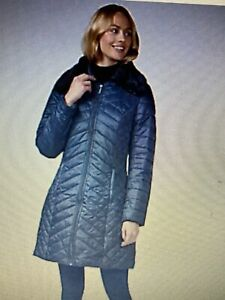 Centigrade Longline Quilted Coat with Faux Fur Trim navy size m ref 289 bnip