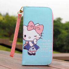 "Cute Blue Hello Kitty Wallet with Strap Zipper Coin Purse 6"" Phone Bag Girl Gift"