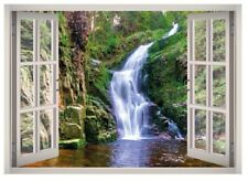 Poland Waterfall Window 3D Wall Decal Art Mural Home Decor Canvas Vinyl W84