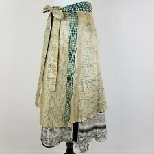 Studio M Green Gold Gray A-line Wrap Skirt Tie Over Lay Reversible Size L