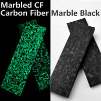 2PCS Noctilucent Marbled CF Carbon Fiber Block Ripple Resin Tool Knife Scale EBS