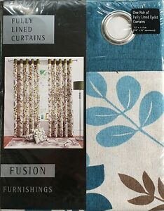 """Woodland Floral Teal / Multi 46"""" x 54"""" Ring Top Eyelet Pair Of Lined Curtains"""