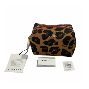 Coach Small Boxy Cosmetic Case With Leopard Print Saddle New