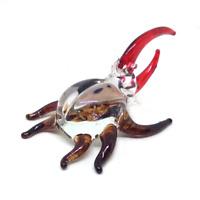 Beetle #3 hand blown clear glass miniature figurine crystal dollhouse art animal