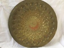 "Fine 14"" ANTIQUE Hand Carved Hammered Brass Wall Art Platter Display - SIGNED"