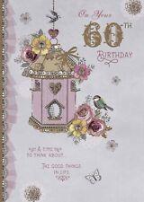 Carte D'Anniversaire - 60th Anniversaire Femme 60 Ans Nichoir - Porte Bonheur