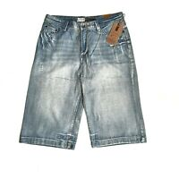 Chisel mens long denim shorts Bootcut faded distressed style NWT.