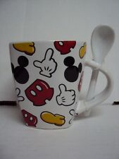 DISNEY MICKEY MOUSE BODY PARTS MUG AND SPOON - CERAMIC 12oz NEW