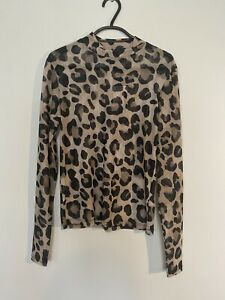 New Look Brown Leopard Print Long Sleeve Top Size 10
