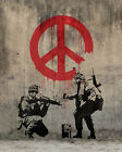 """Banksy, Soldiers Painting Peace, Graffiti Art, Giclee Canvas Print, 8""""x12"""""""
