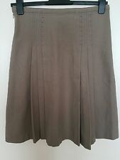 REISS Ladies A-line Side Pleated Casual Work Office Tan Skirt Size 10