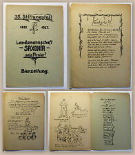 Festschrift Bierzeitung 35. Stiftungsfest 1892-1927 Landsmannschaft Saxonica xz