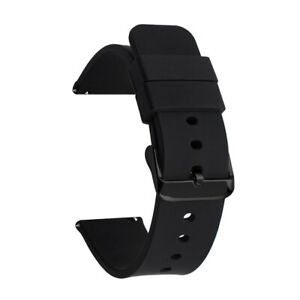 Waterproof Soft Silicone Watch Band 14-19mm 20-24 22mm Watch Strap Black Buckle