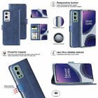 For OnePlus 9 Pro 5G Wallet Case Shockproof Canvas Card Slots Stand Cover Blue