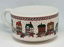 K.I.C. Korea Soup Mug Cup Ceramic Large Winter Village Holiday Sleigh Reindeer