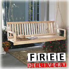 "Wooden Porch Swing Natural Cypress 49"" Width Patio Outdoor Garden Yard Lawn New"